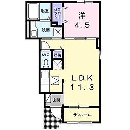 JR東海道本線 豊橋駅 3.1kmの賃貸アパート 1階1LDKの間取り