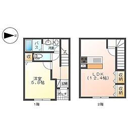 (仮称)平塚市入野アパート新築工事 1階1LDKの間取り