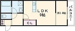 パロス茨木中穂積 3階1LDKの間取り