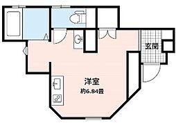 アウラ本郷台 1階ワンルームの間取り
