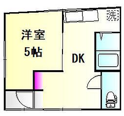 栗橋国分アパートA号棟 1階1DKの間取り