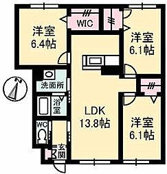 JR土讃線 金蔵寺駅 徒歩23分の賃貸アパート 1階3LDKの間取り