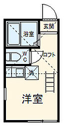京急本線 追浜駅 徒歩9分の賃貸アパート 2階ワンルームの間取り