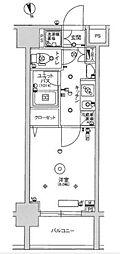 スカイコート蒲田ガーデン 3階1Kの間取り