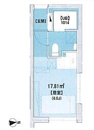 東武東上線 大山駅 徒歩5分の賃貸マンション 4階ワンルームの間取り