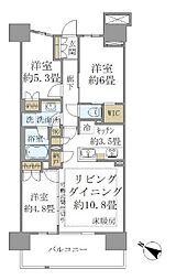 JR京浜東北・根岸線 さいたま新都心駅 徒歩10分の賃貸マンション 9階3LDKの間取り