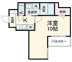 レオ伍拾八番館 3階1Kの間取り