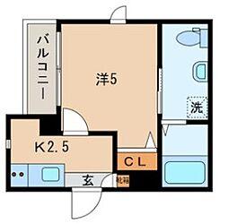 JR山手線 日暮里駅 徒歩10分の賃貸マンション 2階1Kの間取り