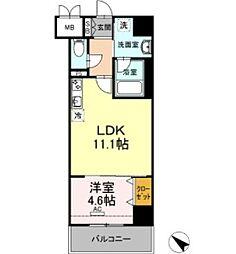 D-room gracious平尾 7階1DKの間取り