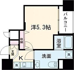 都営浅草線 戸越駅 徒歩3分の賃貸マンション 10階1Kの間取り