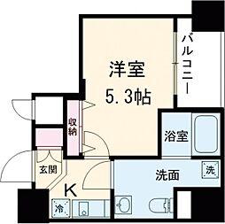 都営浅草線 戸越駅 徒歩3分の賃貸マンション 6階1Kの間取り