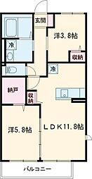 ノアージュIII 2階2LDKの間取り