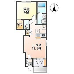JR関西本線 春田駅 徒歩6分の賃貸アパート 1階1LDKの間取り