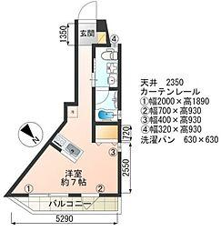 Joie大崎 3階ワンルームの間取り