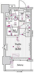 JR山手線 五反田駅 徒歩5分の賃貸マンション 12階1Kの間取り