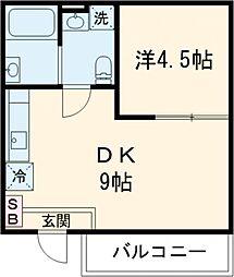 クリフビレッジF棟 地下1階1DKの間取り