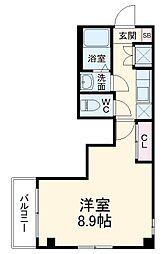 シンシア八番館 3階1Kの間取り