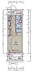 名古屋市営名城線 東別院駅 徒歩2分の賃貸マンション 5階1Kの間取り
