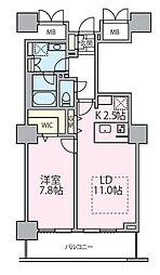 東京メトロ日比谷線 南千住駅 徒歩5分の賃貸マンション 14階1LDKの間取り