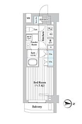 プレール・ドゥーク新宿West 2階1Kの間取り