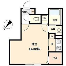 名古屋市営東山線 覚王山駅 徒歩5分の賃貸マンション 2階ワンルームの間取り