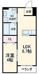 アルル三番館 3階1LDKの間取り