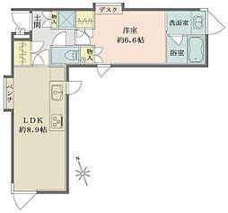 都営浅草線 高輪台駅 徒歩4分の賃貸マンション 3階1LDKの間取り