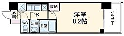 S-RESIDENCE黒川 9階1Kの間取り