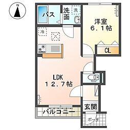 東武伊勢崎線 新伊勢崎駅 徒歩20分の賃貸アパート 1階1LDKの間取り