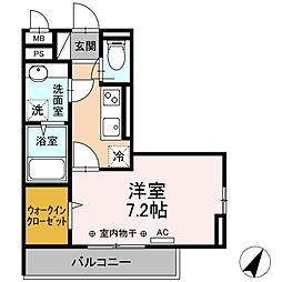 小田急小田原線 相模大野駅 徒歩11分の賃貸アパート 3階1Kの間取り
