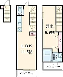 JR山手線 池袋駅 徒歩13分の賃貸マンション 2階1LDKの間取り