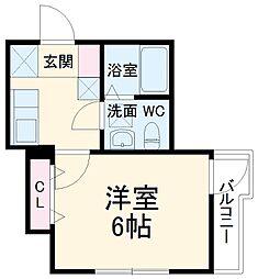 東武伊勢崎線 春日部駅 徒歩3分の賃貸アパート 3階1Kの間取り
