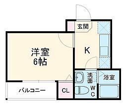 東武伊勢崎線 春日部駅 徒歩3分の賃貸アパート 2階1Kの間取り