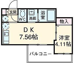 JR京浜東北・根岸線 川崎駅 バス15分 小田五丁目下車 徒歩3分の賃貸アパート 1階1DKの間取り