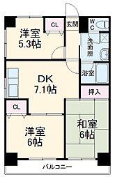ディアコート 3階3DKの間取り