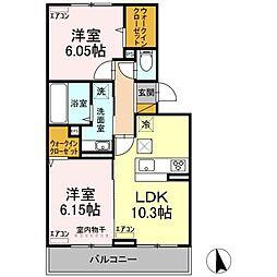 D-roomちはら台H 3階2LDKの間取り