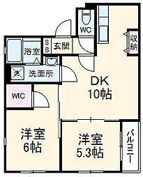 ONE'S STAGE川口幸町 4階2DKの間取り