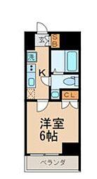 JR山手線 目黒駅 徒歩8分の賃貸マンション 6階1Kの間取り