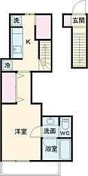 BellaDomani桜新町 2階1Kの間取り
