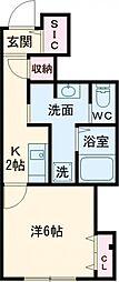 vertu terrace 1階1Kの間取り