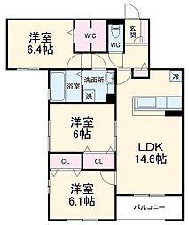 (仮称)D-room北桜塚3丁目 2階3LDKの間取り