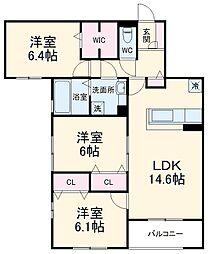 (仮称)D-room北桜塚3丁目 3階3LDKの間取り