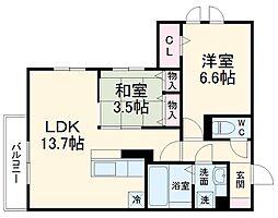 D-room West 2階1LDKの間取り