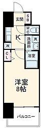 近鉄名古屋線 近鉄四日市駅 徒歩10分の賃貸マンション 6階1Kの間取り