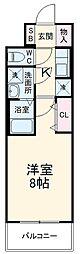 近鉄名古屋線 近鉄四日市駅 徒歩10分の賃貸マンション 8階1Kの間取り