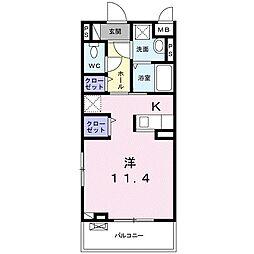 静岡鉄道静岡清水線 新静岡駅 徒歩12分の賃貸アパート 2階1Kの間取り
