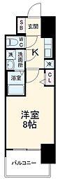 近鉄名古屋線 近鉄四日市駅 徒歩10分の賃貸マンション 12階1Kの間取り