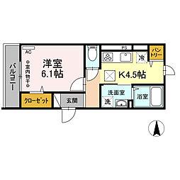 JR東海道本線 小田原駅 徒歩16分の賃貸アパート 2階1Kの間取り
