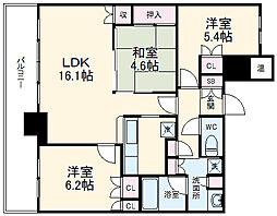 プレミスト千早タワーツインマークス ブライトタワー 4階3LDKの間取り