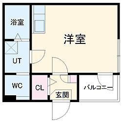 名古屋市営桜通線 吹上駅 徒歩9分の賃貸アパート 1階ワンルームの間取り